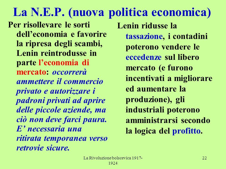 La N.E.P. (nuova politica economica)