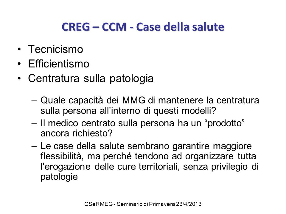CREG – CCM - Case della salute