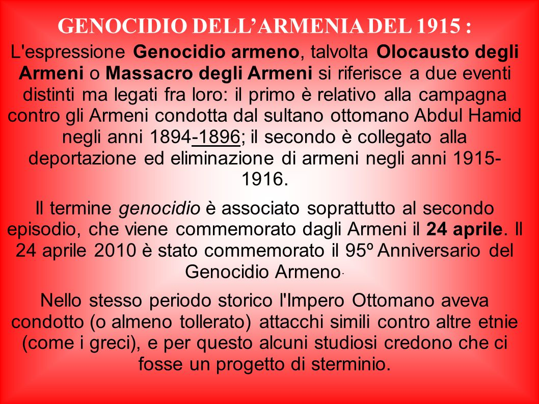 GENOCIDIO DELL'ARMENIA DEL 1915 :