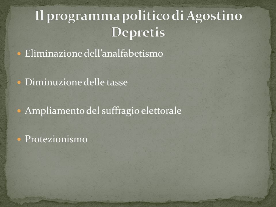 Il programma politico di Agostino Depretis