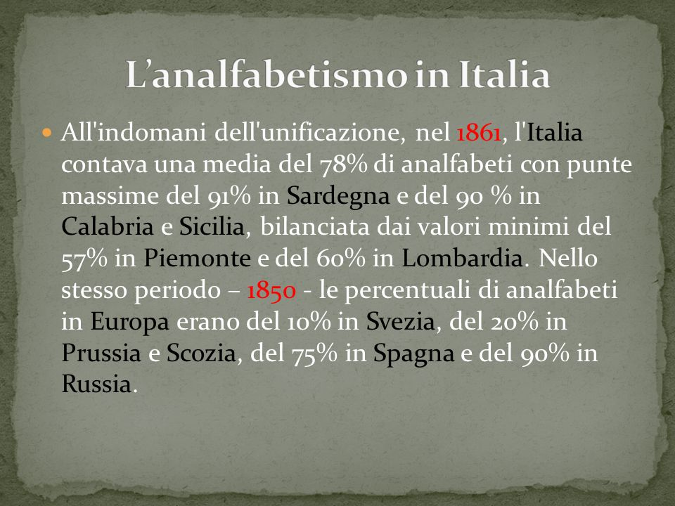L'analfabetismo in Italia