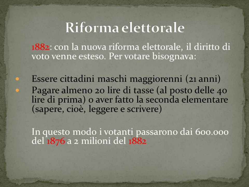 Riforma elettorale 1882: con la nuova riforma elettorale, il diritto di voto venne esteso. Per votare bisognava: