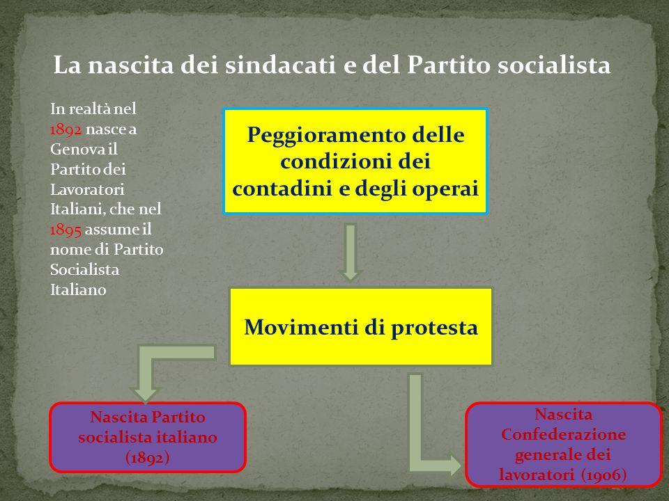 La nascita dei sindacati e del Partito socialista