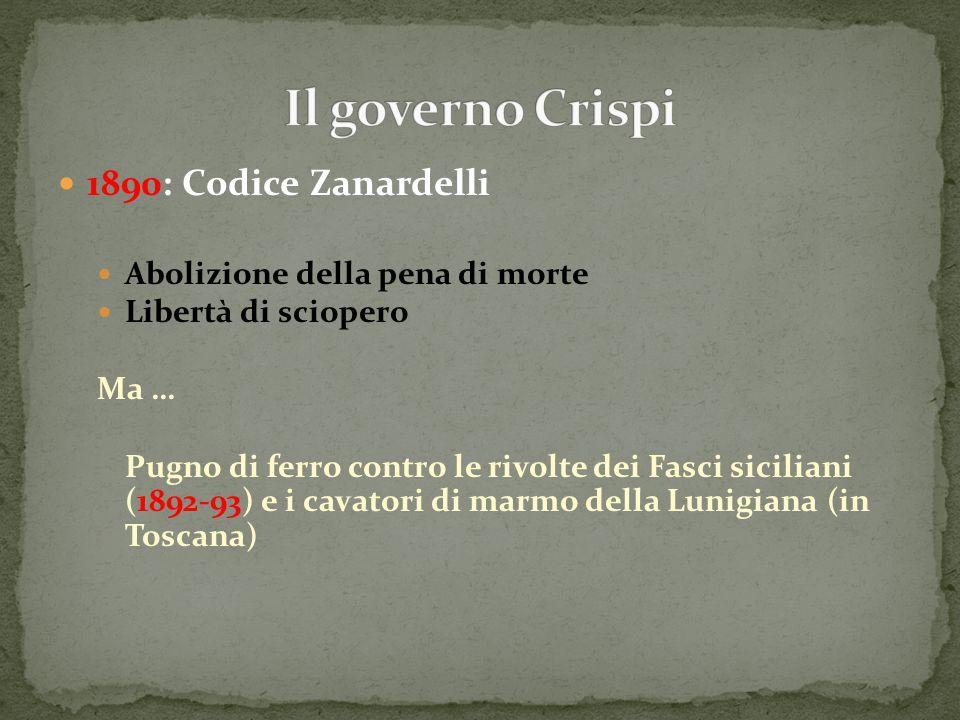 Il governo Crispi 1890: Codice Zanardelli