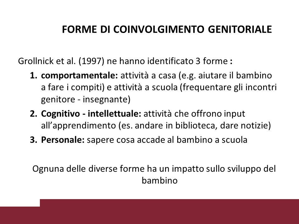 FORME DI COINVOLGIMENTO GENITORIALE