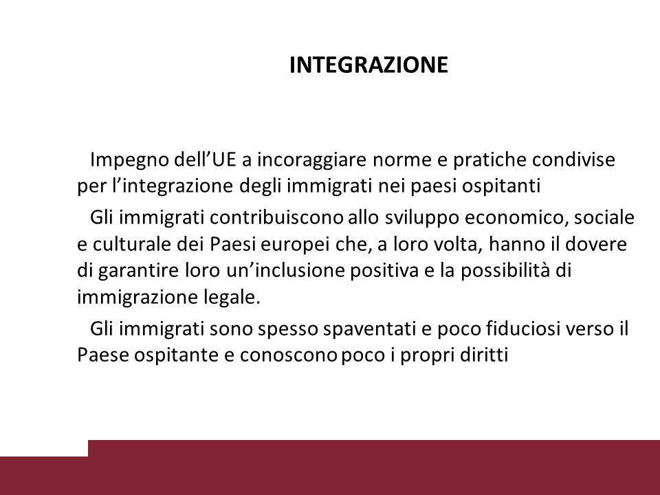 INTEGRAZIONE Impegno dell'UE a incoraggiare norme e pratiche condivise per l'integrazione degli immigrati nei paesi ospitanti.