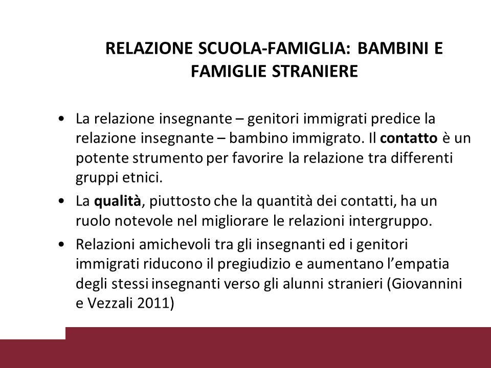 RELAZIONE SCUOLA-FAMIGLIA: BAMBINI E FAMIGLIE STRANIERE