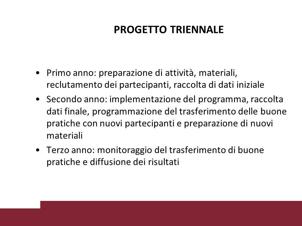 PROGETTO TRIENNALE Primo anno: preparazione di attività, materiali, reclutamento dei partecipanti, raccolta di dati iniziale.