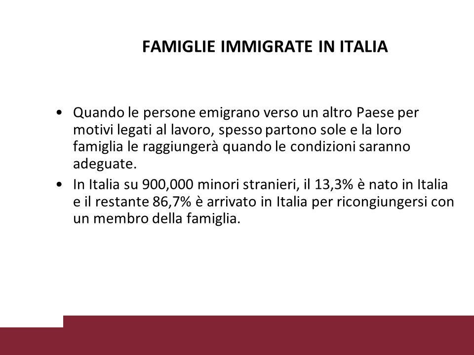 FAMIGLIE IMMIGRATE IN ITALIA