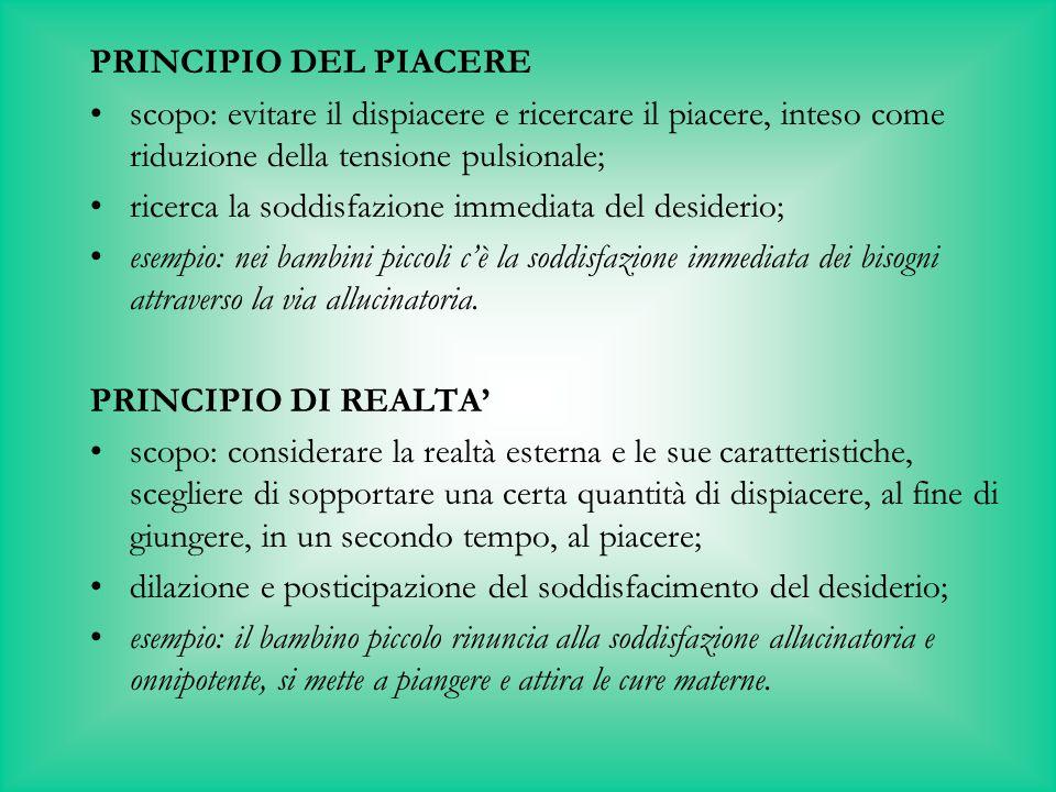 PRINCIPIO DEL PIACERE scopo: evitare il dispiacere e ricercare il piacere, inteso come riduzione della tensione pulsionale;
