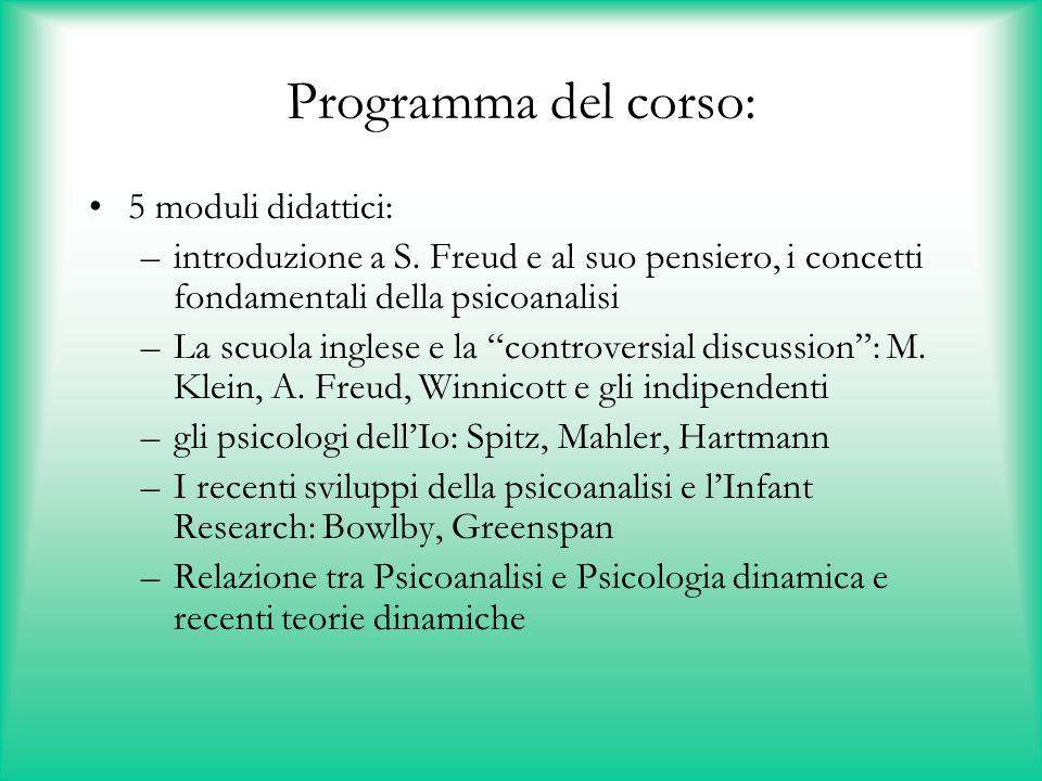 Programma del corso: 5 moduli didattici:
