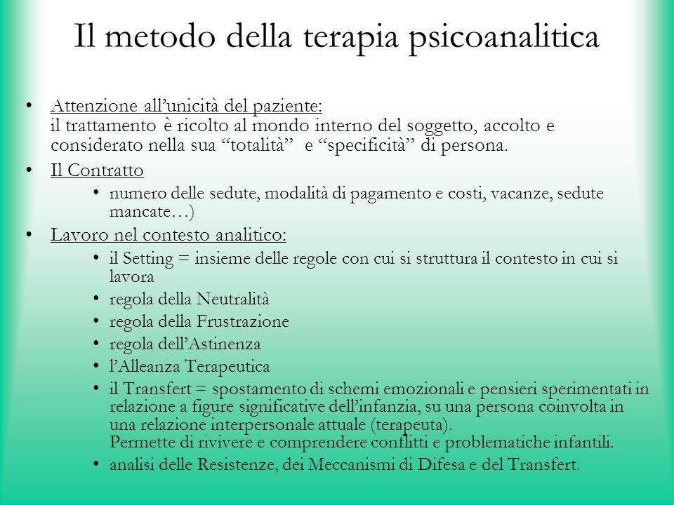 Il metodo della terapia psicoanalitica
