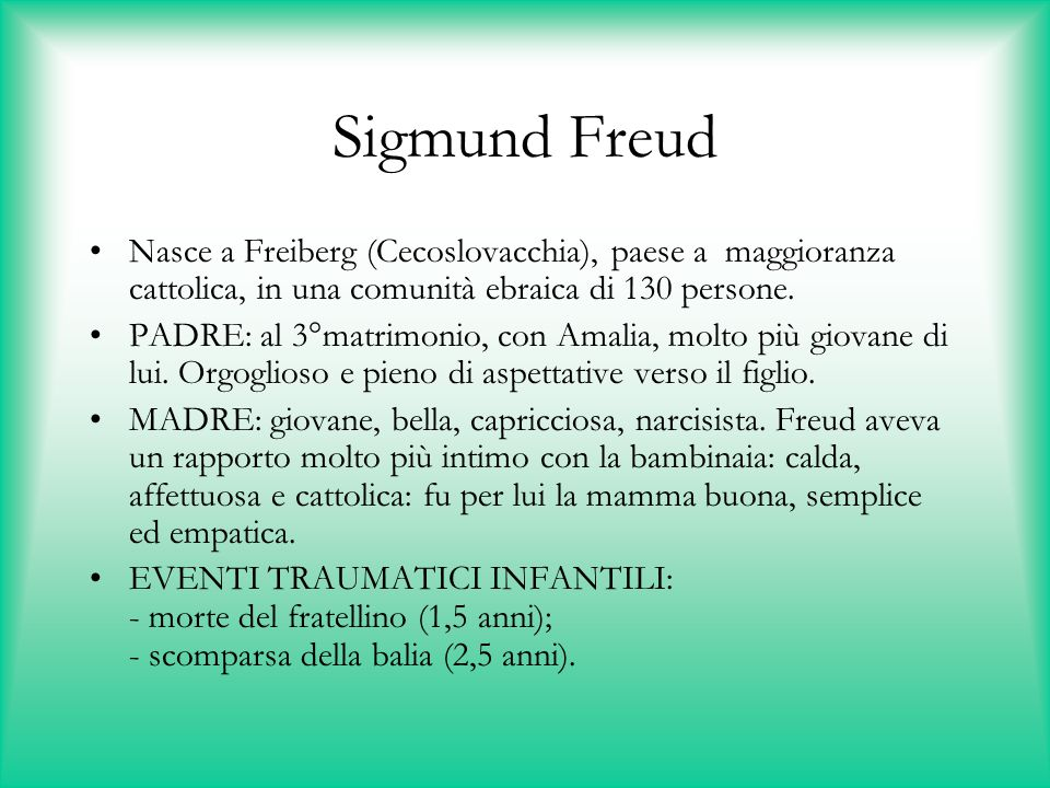 Sigmund Freud Nasce a Freiberg (Cecoslovacchia), paese a maggioranza cattolica, in una comunità ebraica di 130 persone.