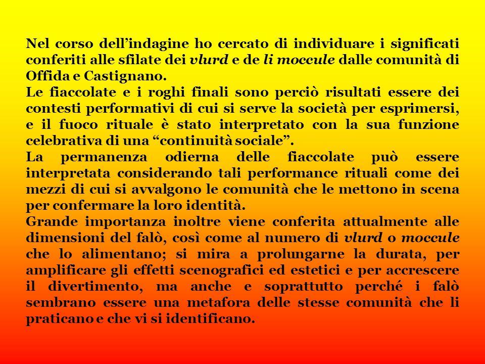 Nel corso dell'indagine ho cercato di individuare i significati conferiti alle sfilate dei vlurd e de li moccule dalle comunità di Offida e Castignano.