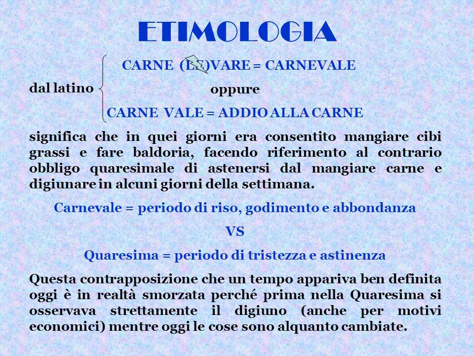 ETIMOLOGIA CARNE (LE)VARE = CARNEVALE oppure