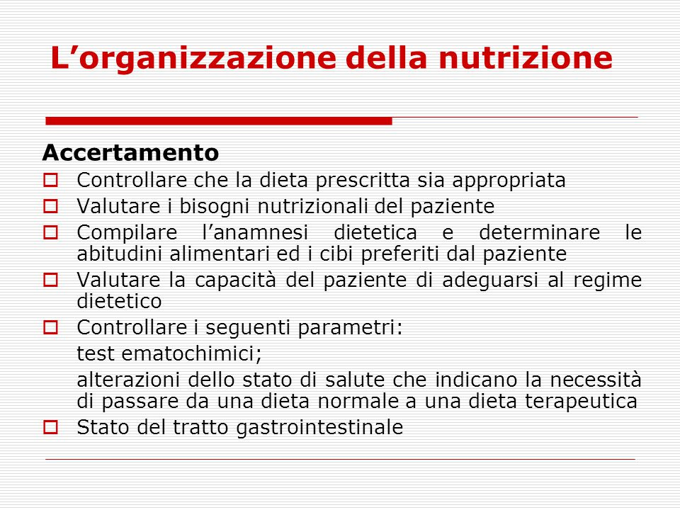 L'organizzazione della nutrizione