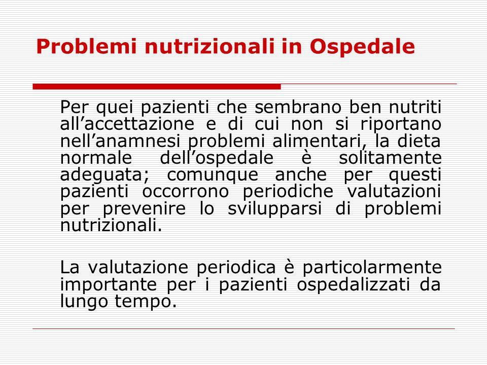 Problemi nutrizionali in Ospedale
