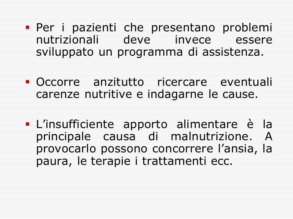 Per i pazienti che presentano problemi nutrizionali deve invece essere sviluppato un programma di assistenza.