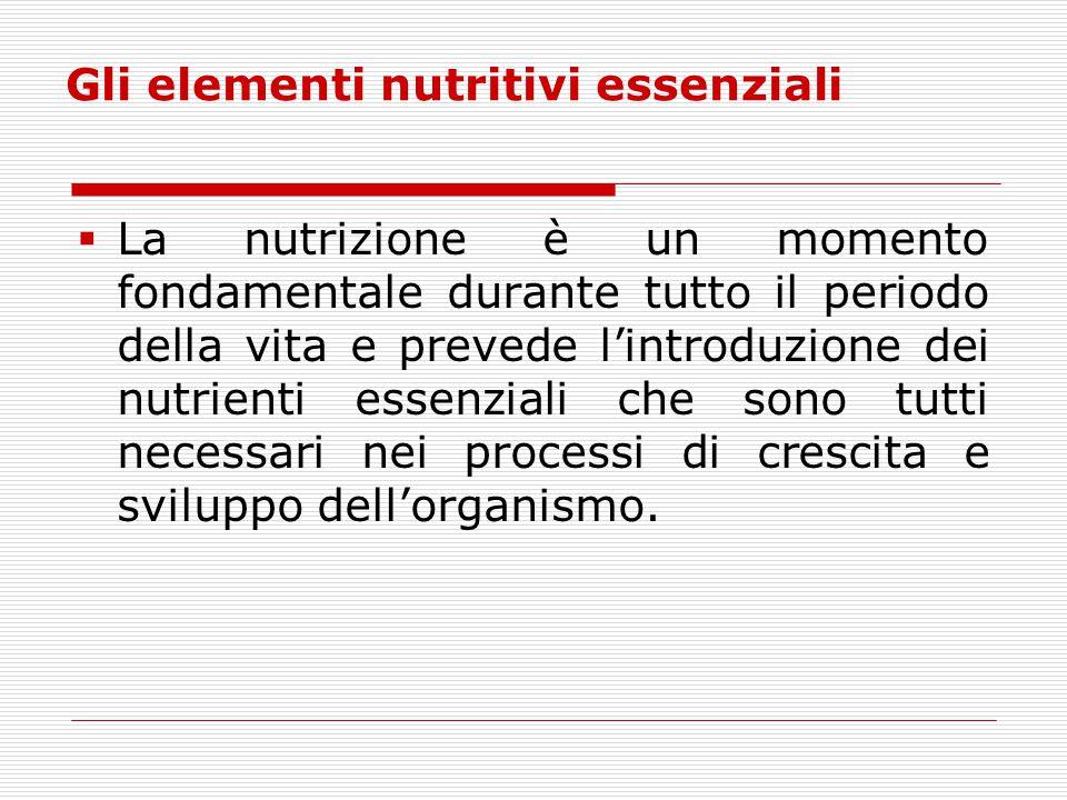 Gli elementi nutritivi essenziali