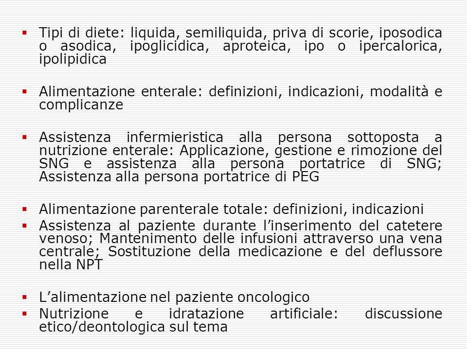 Tipi di diete: liquida, semiliquida, priva di scorie, iposodica o asodica, ipoglicidica, aproteica, ipo o ipercalorica, ipolipidica