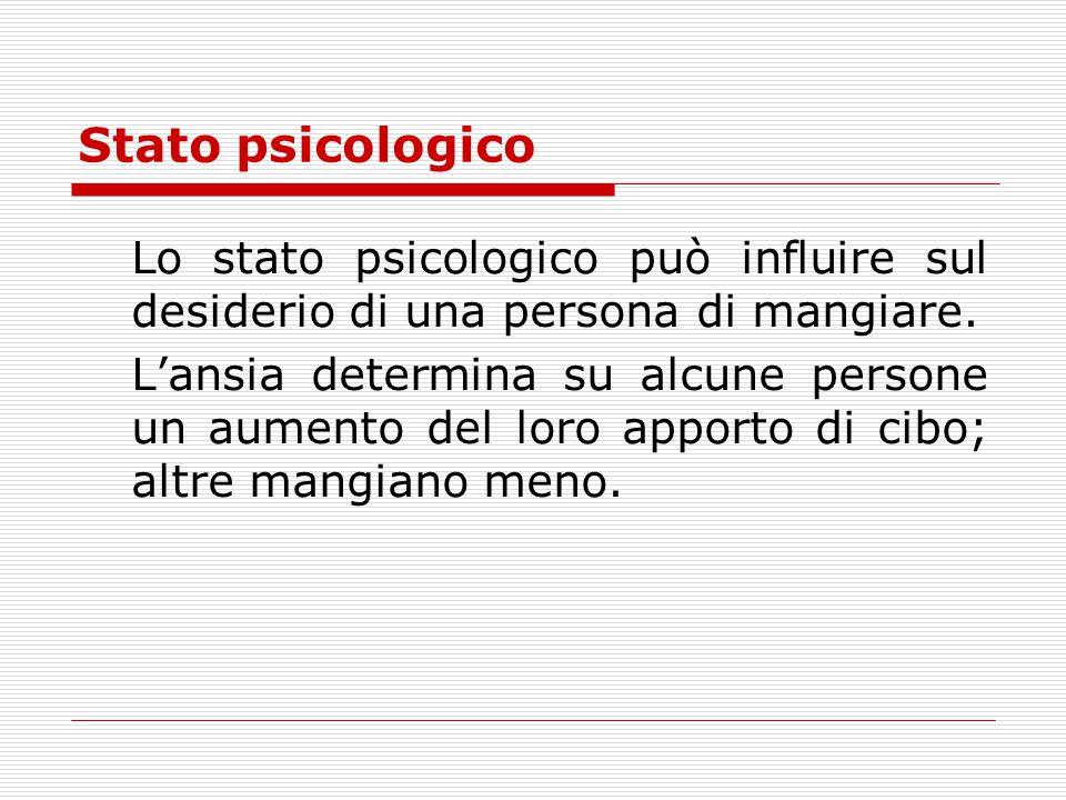 Stato psicologico Lo stato psicologico può influire sul desiderio di una persona di mangiare.