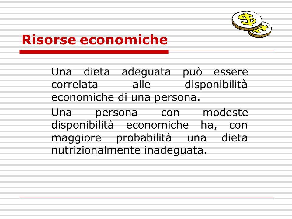 Risorse economiche Una dieta adeguata può essere correlata alle disponibilità economiche di una persona.