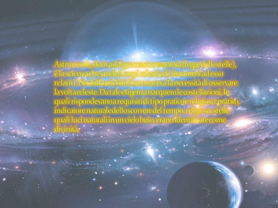 Astronomia, deriva dal greco astron-nomia (legge delle stelle), è la scienza che studia i corpi celesti ed i fenomeni ad esso relativi.