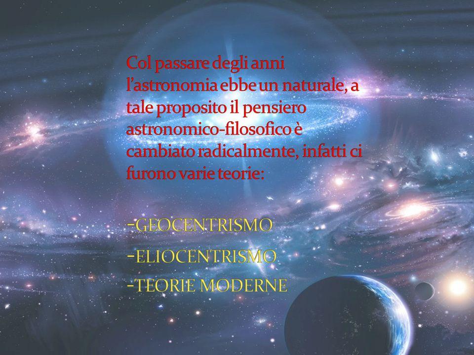 Col passare degli anni l'astronomia ebbe un naturale, a tale proposito il pensiero astronomico-filosofico è cambiato radicalmente, infatti ci furono varie teorie: -GEOCENTRISMO -ELIOCENTRISMO -TEORIE MODERNE