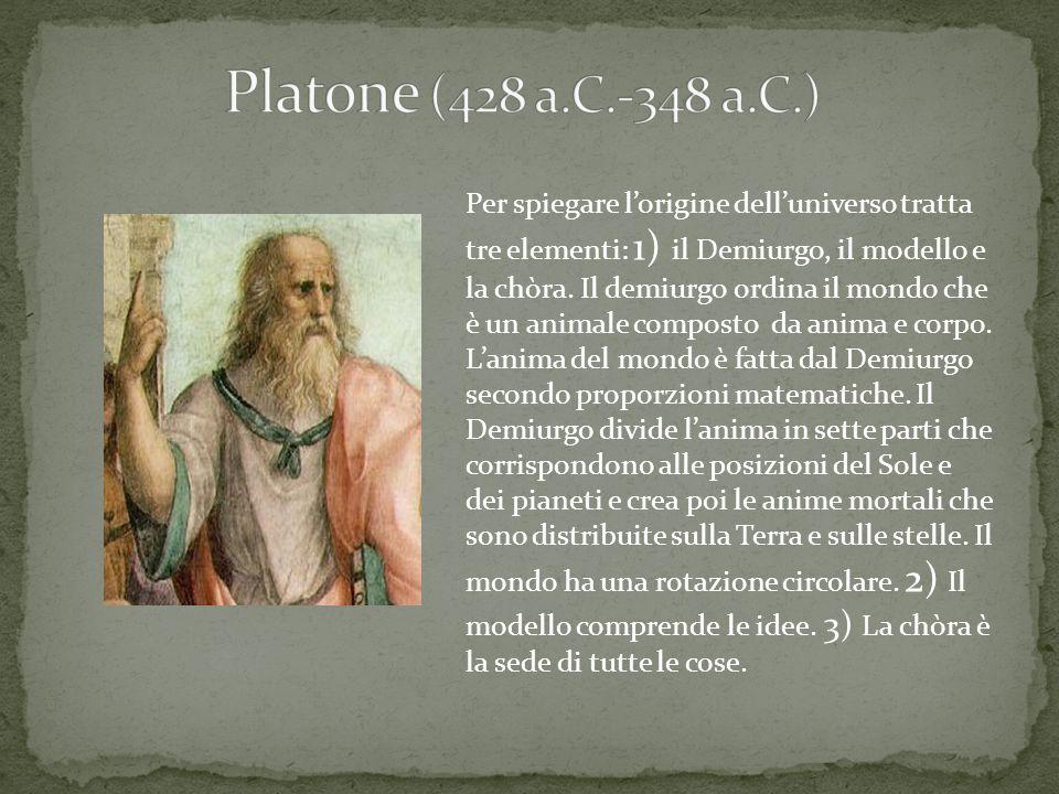 Platone (428 a.C.-348 a.C.) Per spiegare l'origine dell'universo tratta.