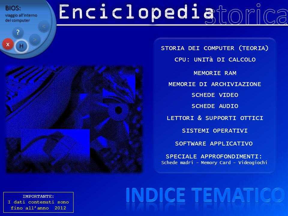 storica Enciclopedia Indice tematico BIOS: < > x H