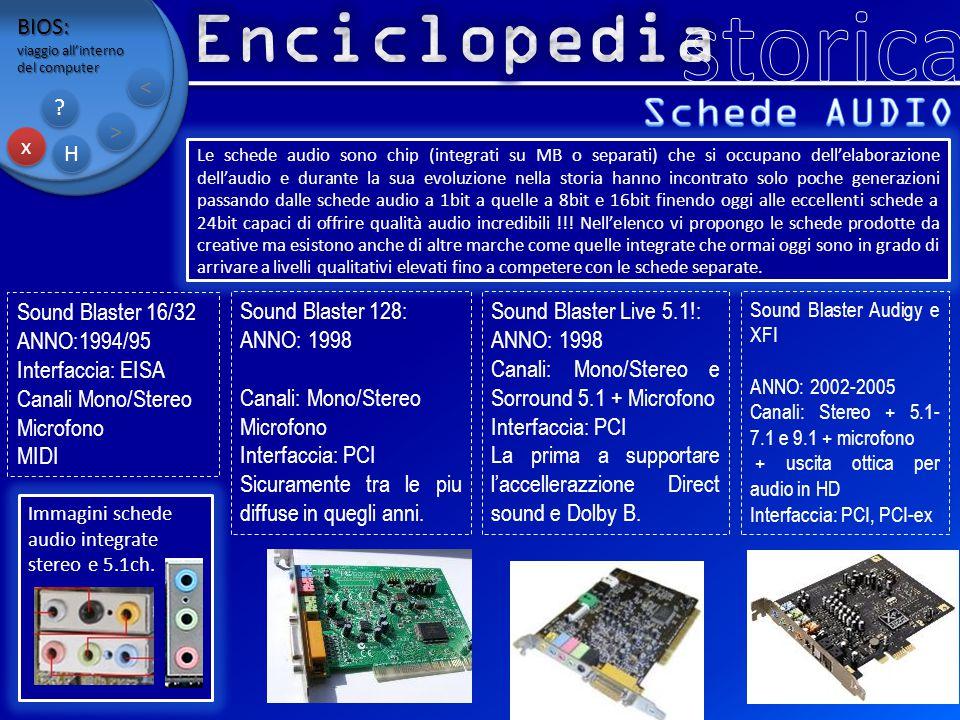 storica Enciclopedia Schede AUDIO BIOS: < > x H