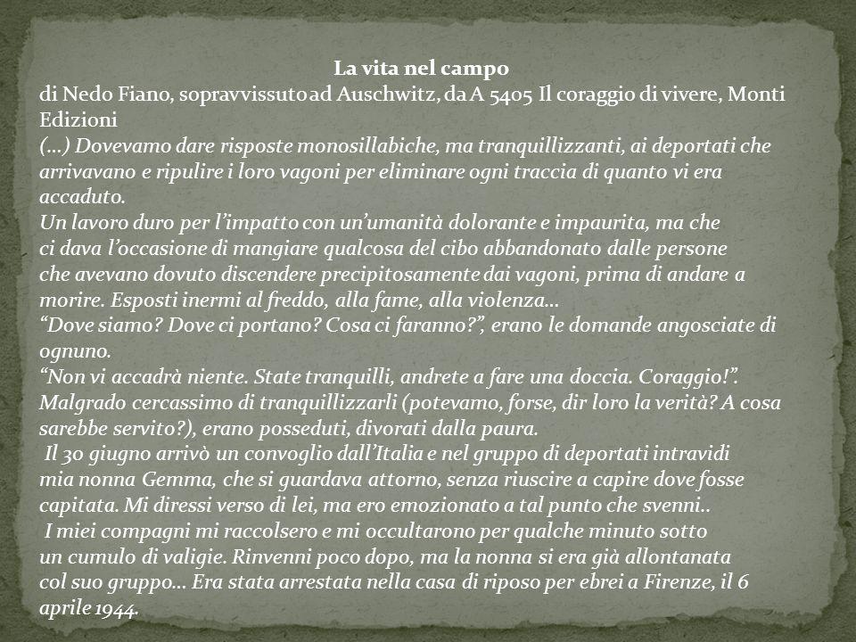 La vita nel campo di Nedo Fiano, sopravvissuto ad Auschwitz, da A 5405 Il coraggio di vivere, Monti Edizioni.