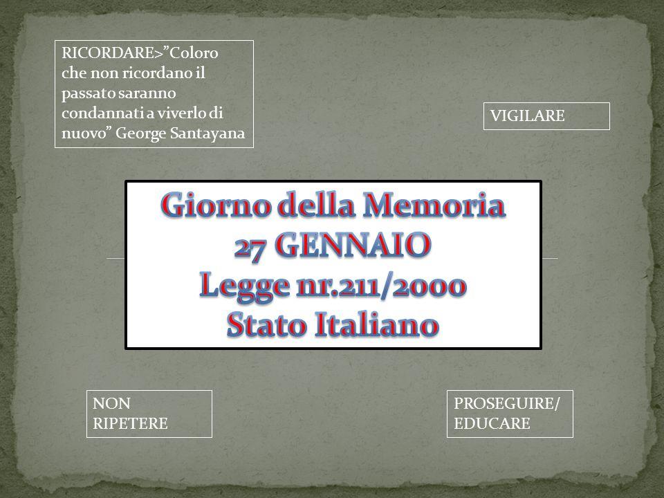 Giorno della Memoria 27 GENNAIO Legge nr.211/2000 Stato Italiano