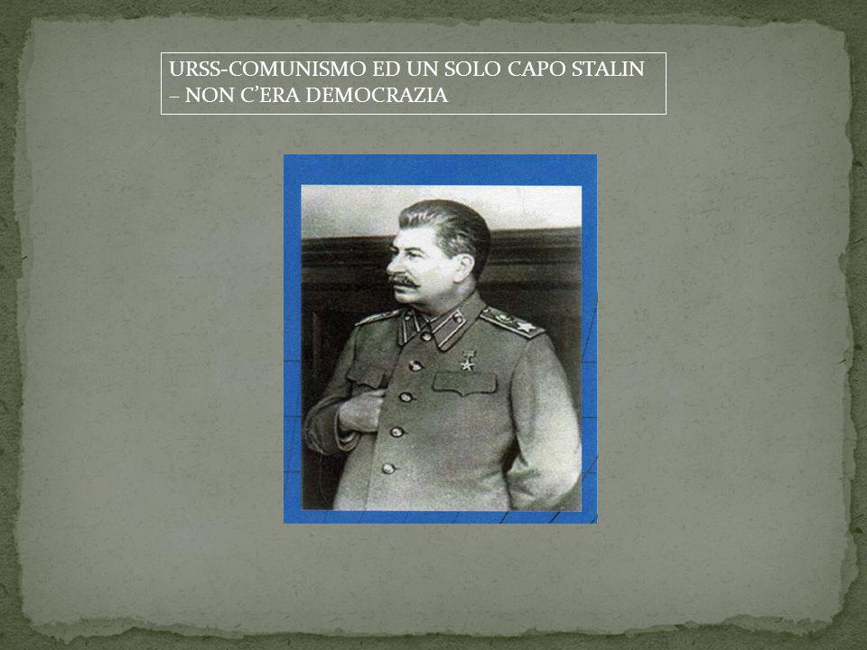 URSS-COMUNISMO ED UN SOLO CAPO STALIN – NON C'ERA DEMOCRAZIA