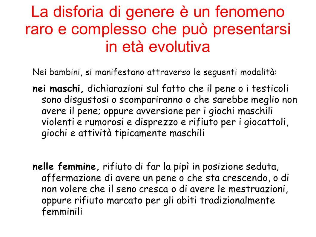 La disforia di genere è un fenomeno raro e complesso che può presentarsi in età evolutiva