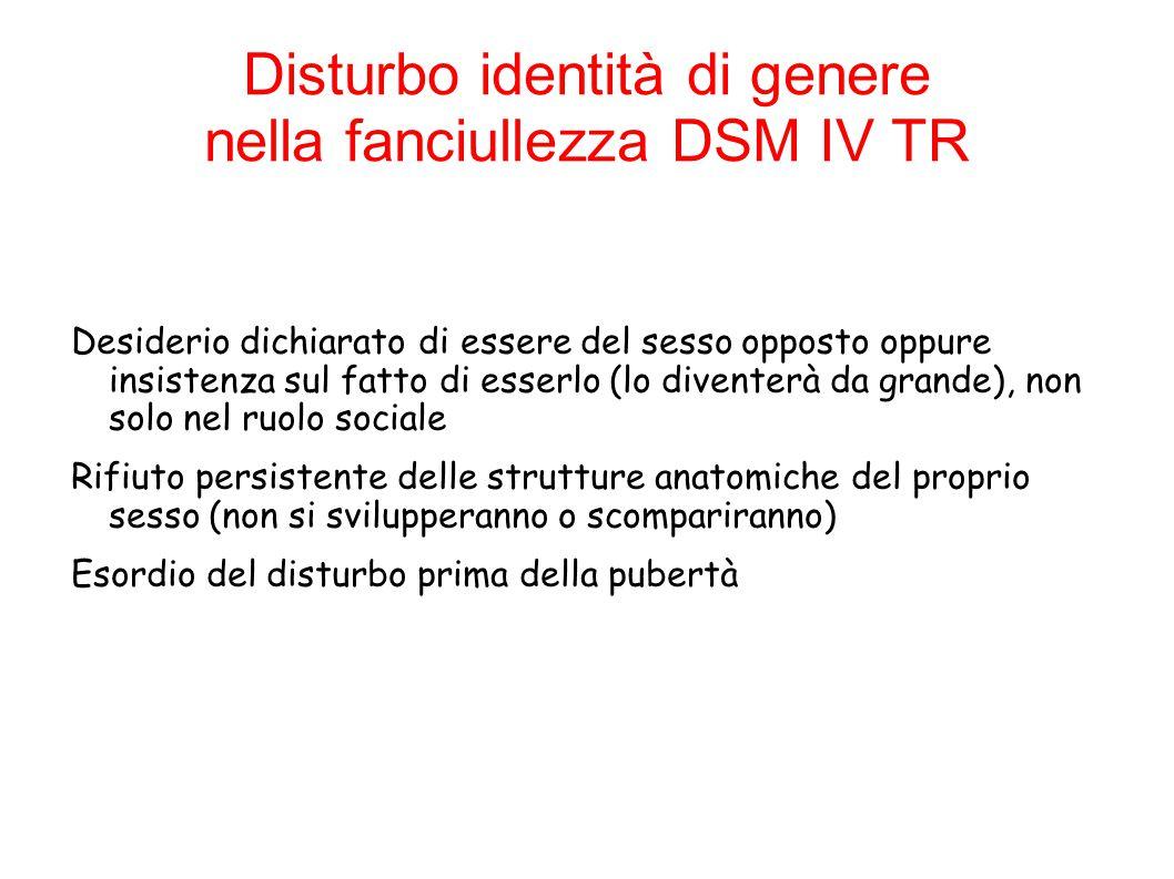 Disturbo identità di genere nella fanciullezza DSM IV TR