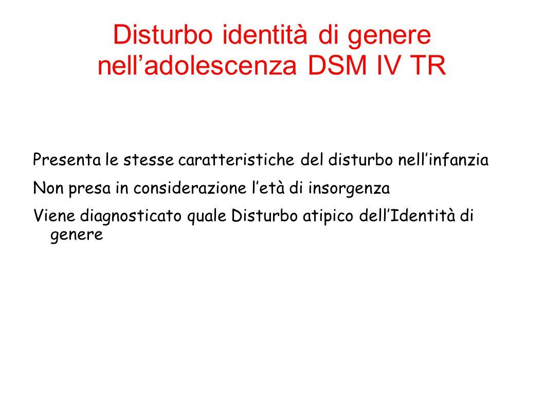 Disturbo identità di genere nell'adolescenza DSM IV TR
