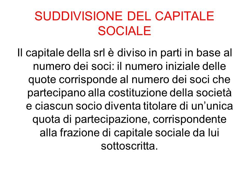 SUDDIVISIONE DEL CAPITALE SOCIALE
