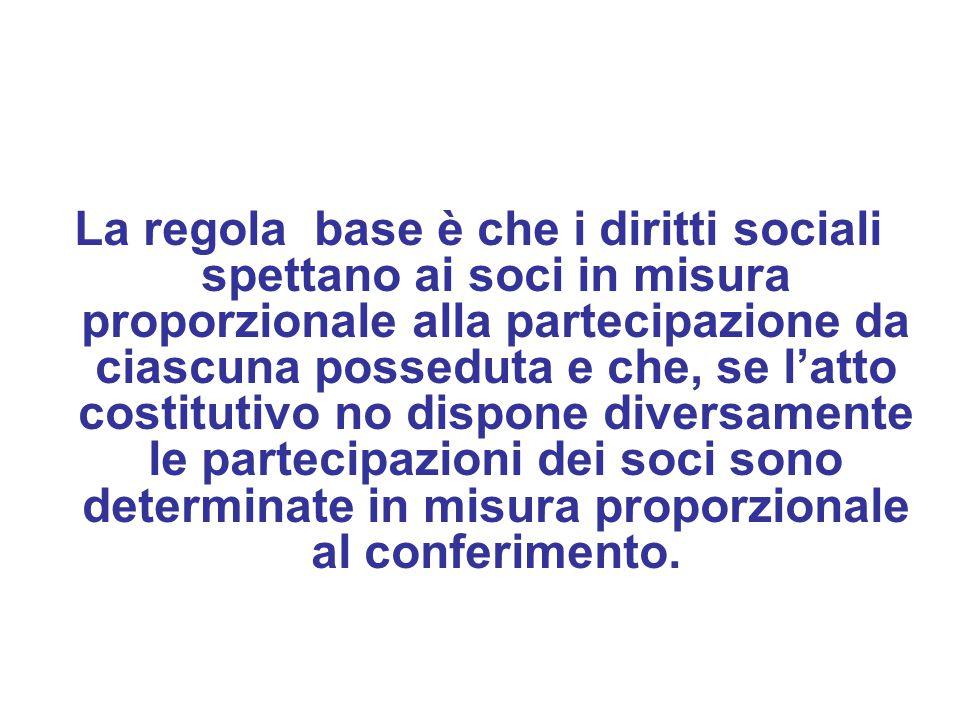 La regola base è che i diritti sociali spettano ai soci in misura proporzionale alla partecipazione da ciascuna posseduta e che, se l'atto costitutivo no dispone diversamente le partecipazioni dei soci sono determinate in misura proporzionale al conferimento.