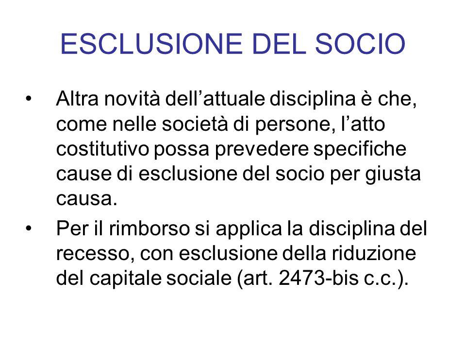 ESCLUSIONE DEL SOCIO