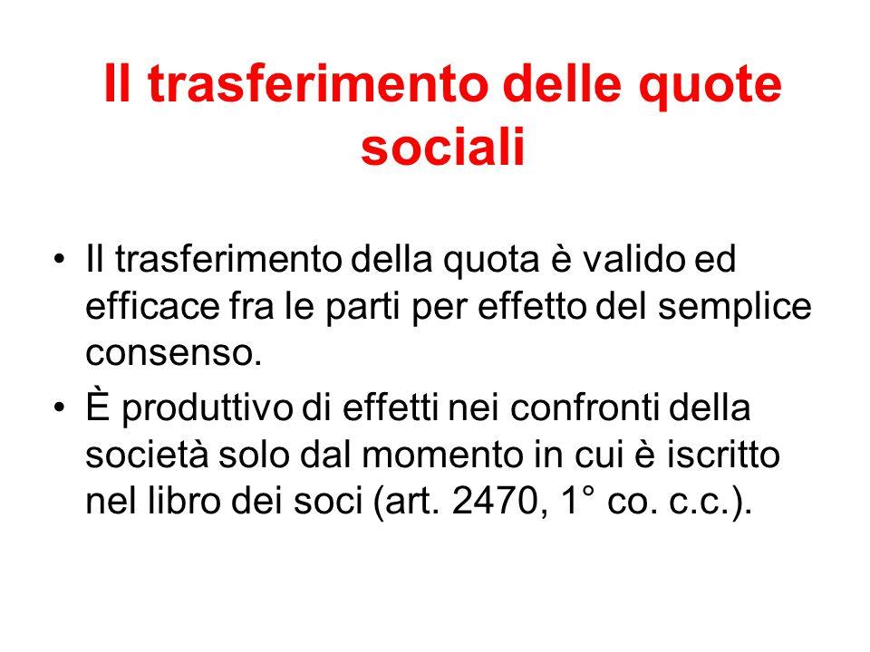 Il trasferimento delle quote sociali