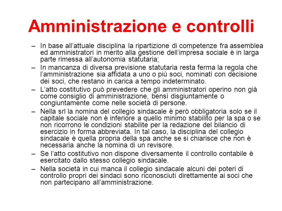 Amministrazione e controlli