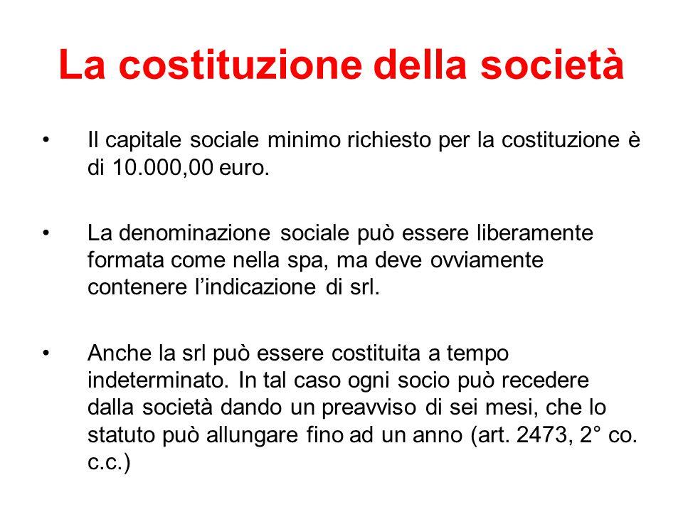 La costituzione della società