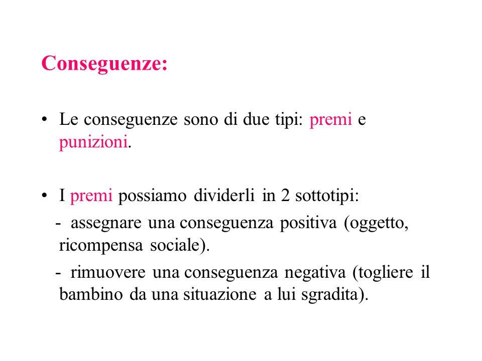 Conseguenze: Le conseguenze sono di due tipi: premi e punizioni.
