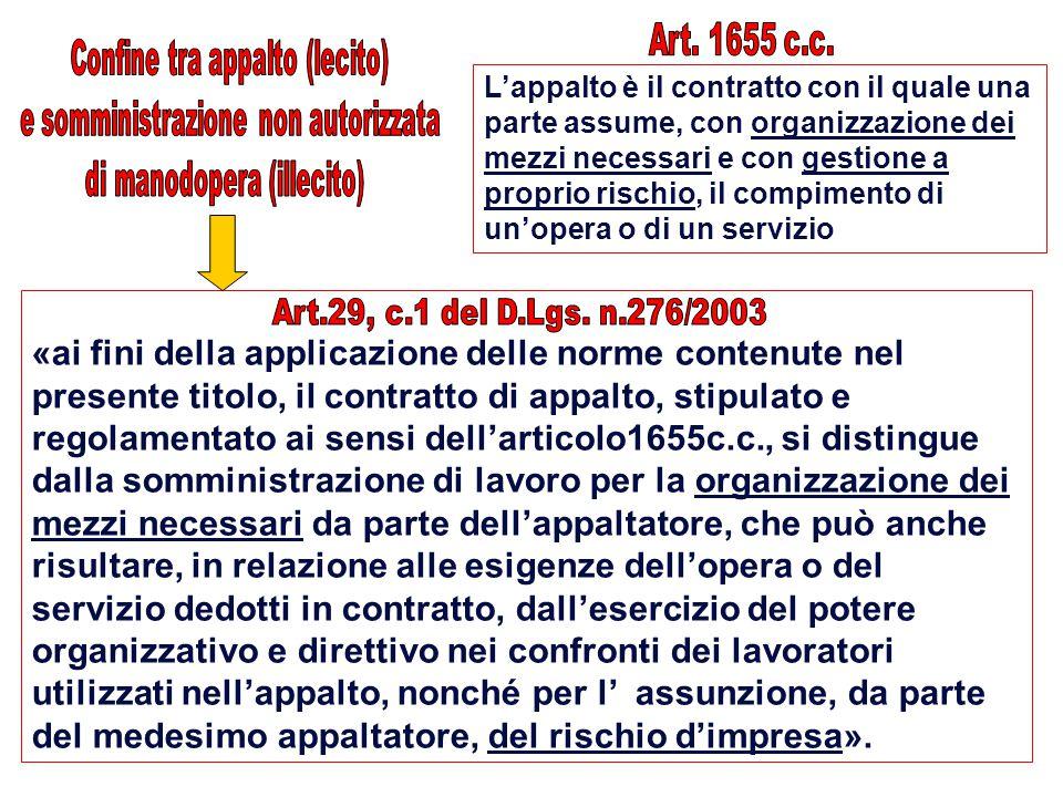 Art. 1655 c.c. Confine tra appalto (lecito) e somministrazione non autorizzata. di manodopera (illecito)