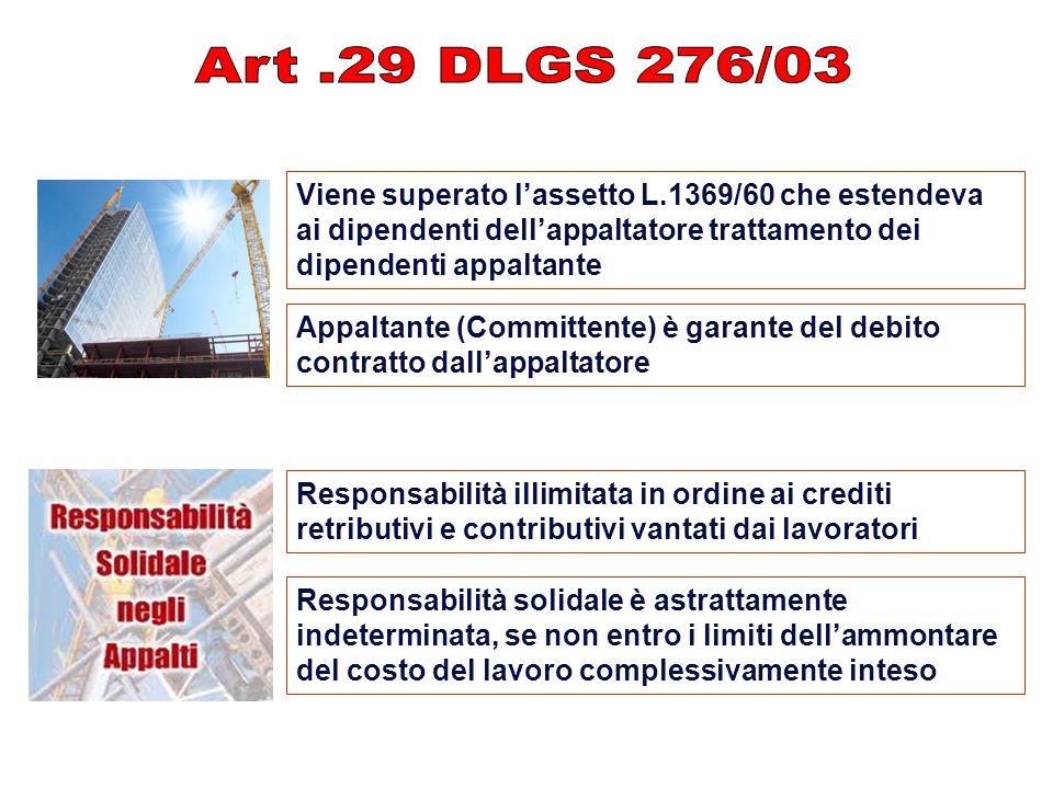 Art .29 DLGS 276/03 Viene superato l'assetto L.1369/60 che estendeva ai dipendenti dell'appaltatore trattamento dei dipendenti appaltante.