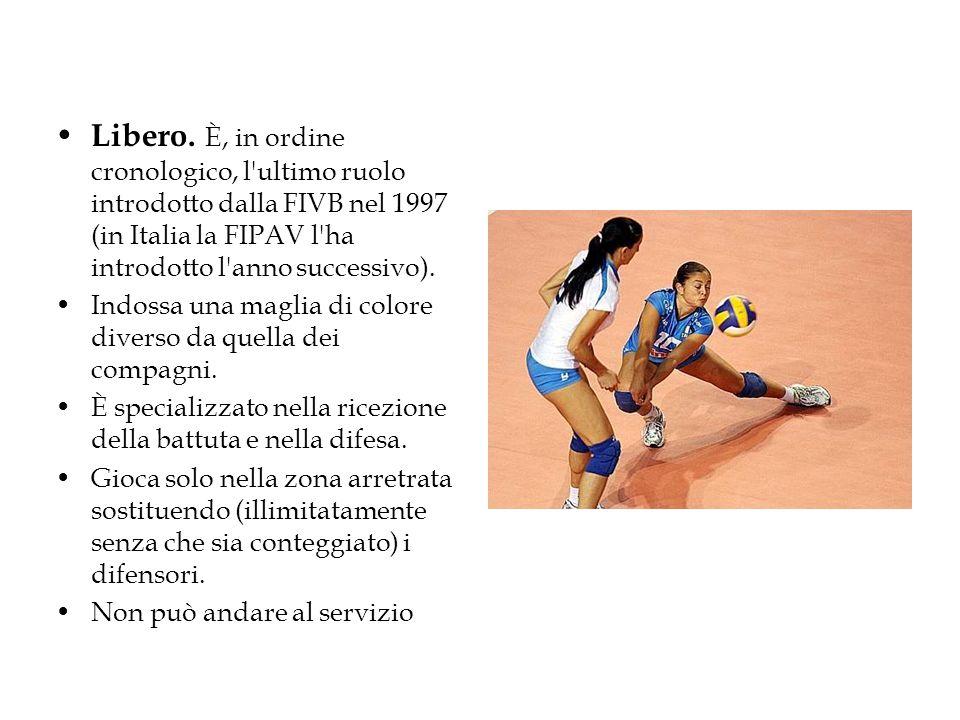 Libero. È, in ordine cronologico, l ultimo ruolo introdotto dalla FIVB nel 1997 (in Italia la FIPAV l ha introdotto l anno successivo).