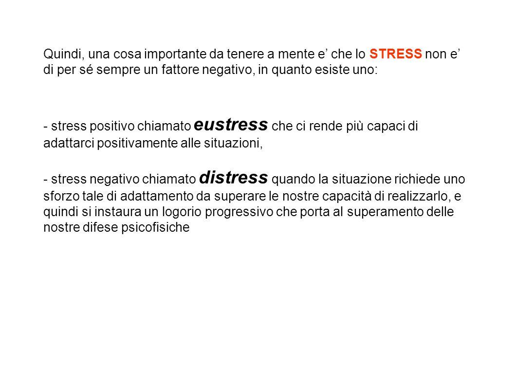 Quindi, una cosa importante da tenere a mente e' che lo STRESS non e' di per sé sempre un fattore negativo, in quanto esiste uno: