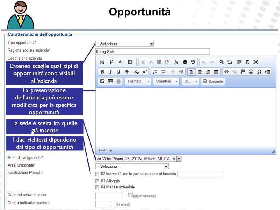 Opportunità L'ateneo sceglie quali tipi di opportunità sono visibili all'azienda.