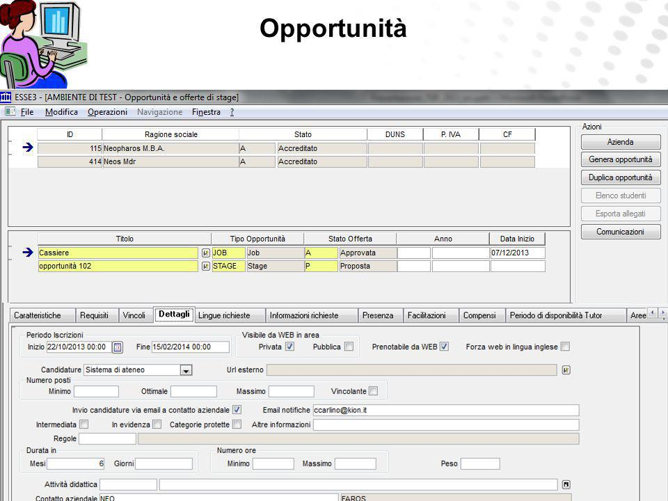 Opportunità The university can always update, complete and modify job posts. The university can insert job posts of any type.